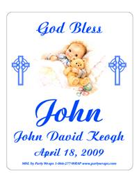 Christening Sleeping Boy Label
