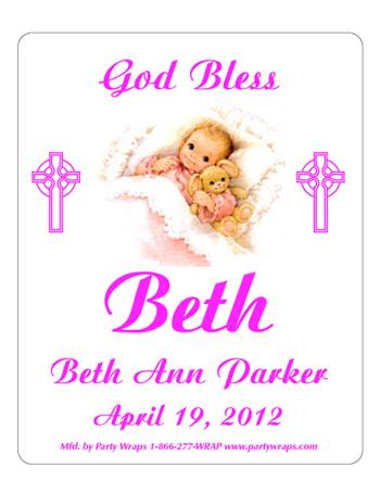 Christening Sleeping Girl Label