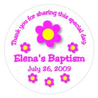 Christening Daisy Dot Label