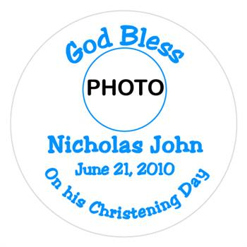 Christening Boy Photo Label