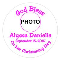 Christening Girl Photo Label