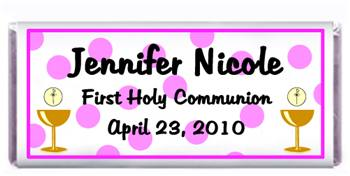 Communion Polka Dots Pink Candy Bar