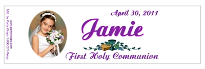Communion Photo Water Bottle Labels