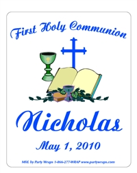 Communion Bible Chalice Cross Label