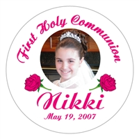 Communion Rose Photo Lollipop