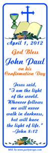 Confirmation Bible Chalice Cross Bookmarker