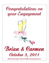 Engagement Champagne Glass with Rose