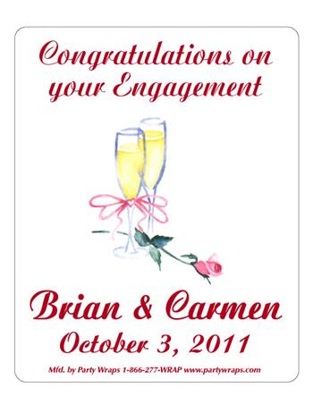 Engagement Champagne Glass with Rose Label