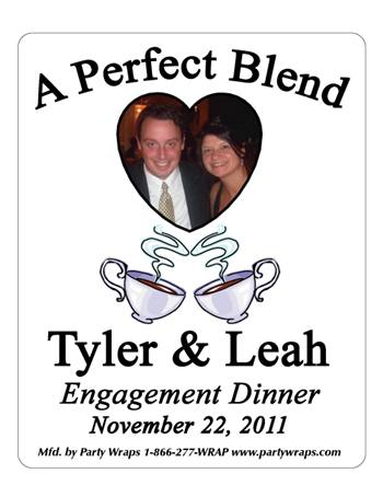 Engagement Coffee Heart Photo Label