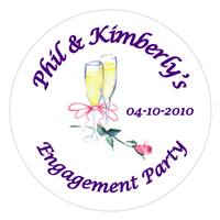 Engagement Champagne Glass with Rose Popcorn