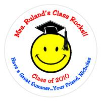Graduation Smiley Face Label
