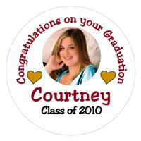 Graduation Photo Hearts Label