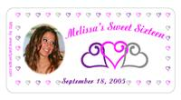 Sweet 16 Photo Triple Hearts Stars Label
