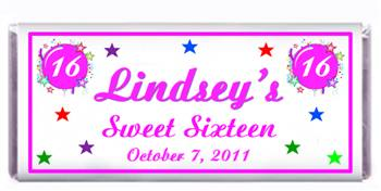 Sweet 16 Burst & Stars Candy Bar