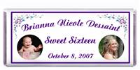 Sweet 16 Double Photo Purple & Teal Candy Bar