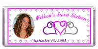 Sweet 16 Photo Triple Heart Candy Bar