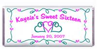 Sweet 16 Triple Heart Scroll Candy Bar