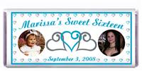 Sweet 16 Triple Heart Double Photo Candy Bar
