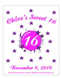 Sweet 16 Burst & Stars Label
