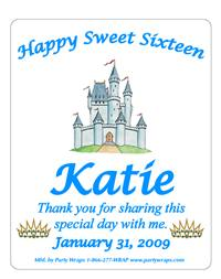 Sweet 16 Princess Label
