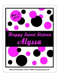 Sweet 16 Polka Dots Label