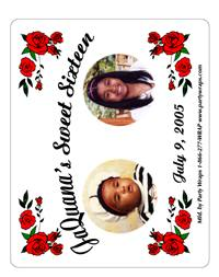 Sweet 16 Photo Roses Label