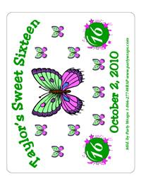 Sweet 16 Butterfly Burst Label