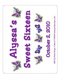Sweet 16 Butterflies Label