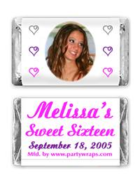 Sweet 16 Miniature Candy Bars - Photo
