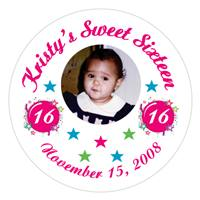 Sweet 16 Photo Burst Label