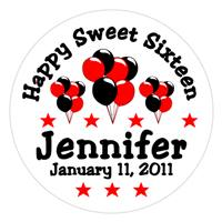 Sweet 16 Balloons Label