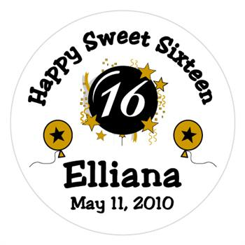 Sweet 16 Burst & Balloons Label