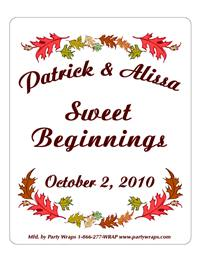 Wedding Fall Leaves Label