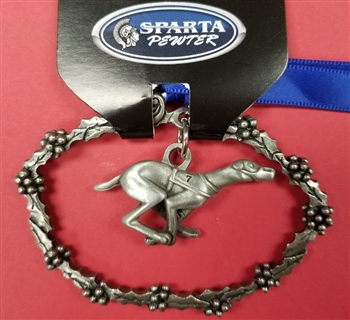 Pewter Wreath Christmas ornament with Racing Greyhound