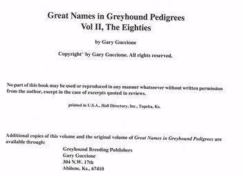 Great Names in Pedigrees Volume II