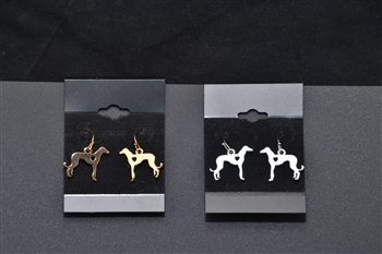 Gold tone Greyhound Heart Cut-Out Earrings