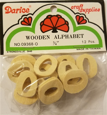 "Darice Crafts 3/4"" Wooden Alphabet Block Letter O, 12 pcs"