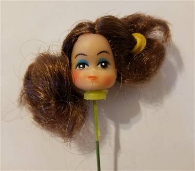 "Small 1"" Brunette Hair Female Vinyl Doll Head Wire Pick"