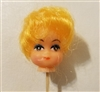 "Small 1"" Short Blonde Hair Female Vinyl Doll Head Wire Pick"