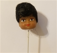 Small Black Female Vinyl Doll Head Wire Pick