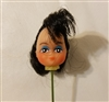 "Small 1"" Black Hair Female Vinyl Doll Head Wire Pick"