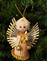 Natural Raffia Angel Christmas Ornament