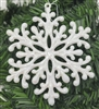 White Sparkly Glittery Plastic Snowflake Christmas Tree Ornaments (12 pcs)