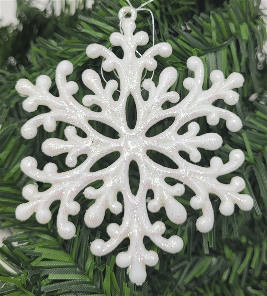 White Sparkly Glittery Plastic Snowflake Christmas Tree Ornaments 12 Pcs