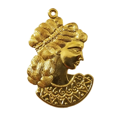 Grecian Goddess Charm Gold Tone Metal Jewelry Findings