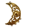 Filigree Floral Crescent Moon Gold Tone Metal Jewelry Findings