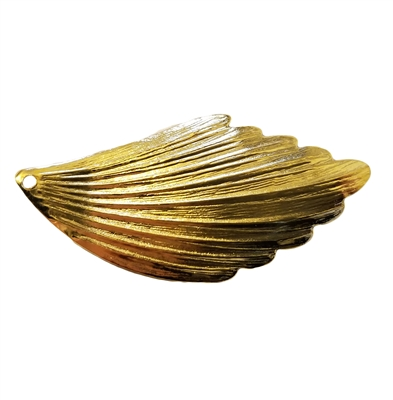 Gold Tone Metal Scalloped Leaf Stamping Charm