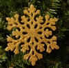 Gold Sparkly Glittery Plastic Snowflake Christmas Tree Ornaments (12 pcs)