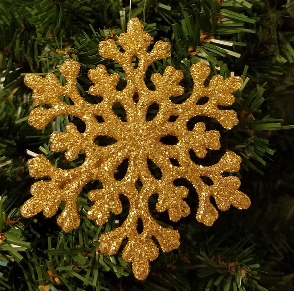 Gold Sparkly Glittery Plastic Snowflake Christmas Tree Ornaments 12 Pcs