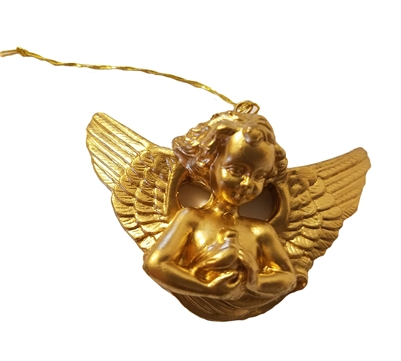 "2"" Miniature Gold Cherub Angel Holding Bird Christmas Ornament"